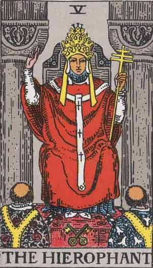 The Hierophant Tarot Card From The Rider-Waite Tarot Deck.