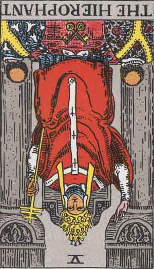 The Reversed Hierophant Tarot Card From The Rider-Waite Tarot Deck.