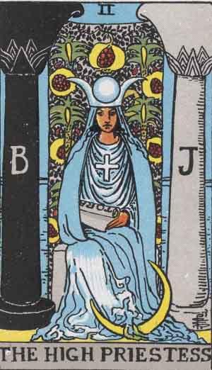 The High Priestess Tarot Card From The Rider-Waite Tarot Deck.
