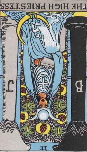 The Reversed High Priestess Tarot Card From The Rider-Waite Tarot Deck.