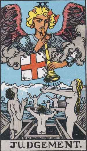 The Judgement Tarot Card From The Rider-Waite Tarot Deck.