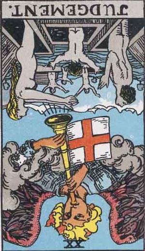 The Reversed Judgement Tarot Card From The Rider-Waite Tarot Deck.