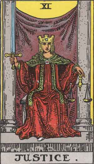 The Justice Tarot Card From The Rider-Waite Tarot Deck.