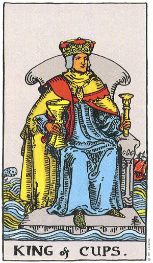 The King Of Cups Tarot Card From The Rider-Waite Tarot Deck.