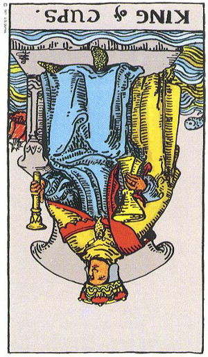 The Reversed King Of Cups Tarot Card From The Rider-Waite Tarot Deck.