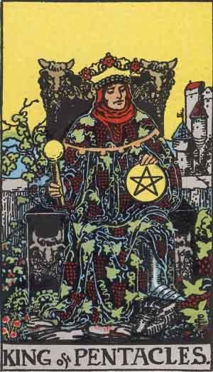 The King Of Pentacles Tarot Card From The Rider-Waite Tarot Deck.