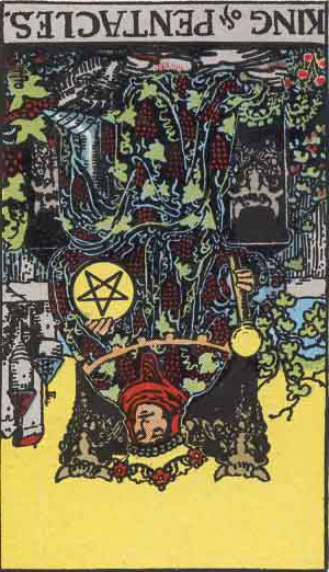 The Reversed King Of Pentacles Tarot Card From The Rider-Waite Tarot Deck.