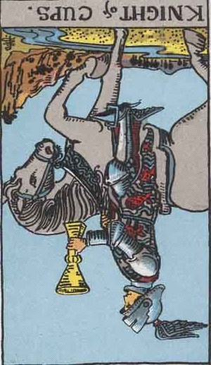 The Reversed Knight Of Cups Tarot Card From The Rider-Waite Tarot Deck.