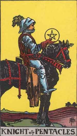 The Knight Of Pentacles Tarot Card From The Rider-Waite Tarot Deck.