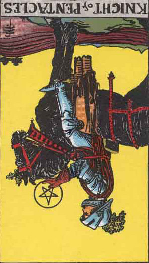The Reversed Knight Of Pentacles Tarot Card From The Rider-Waite Tarot Deck.