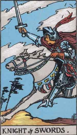 The Knight Of Swords Tarot Card From The Rider Wait Tarot Deck.