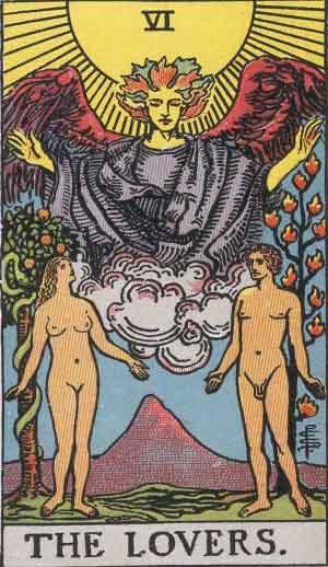 The Lovers Tarot Card From The Rider-Waite Tarot Deck.
