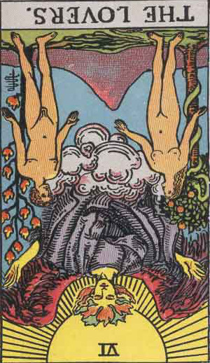The Reversed Lovers Tarot Card From The Rider-Waite Tarot Deck.