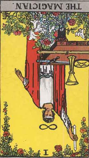 The Reversed Magician Tarot Card From The Rider-Waite Tarot Deck.