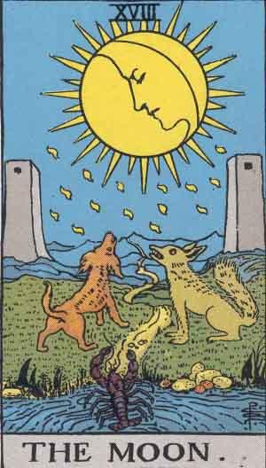 The Moon Tarot Card From The Rider-Waite Tarot Deck.
