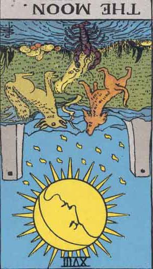 The Reversed Moon Tarot Card From The Rider-Waite Tarot Deck.