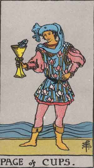 The Page Of Cups Tarot Card From The Rider-Waite Tarot Deck.