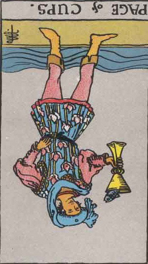 The Reversed Page Of Cups Tarot Card From The Rider-Waite Tarot Deck.