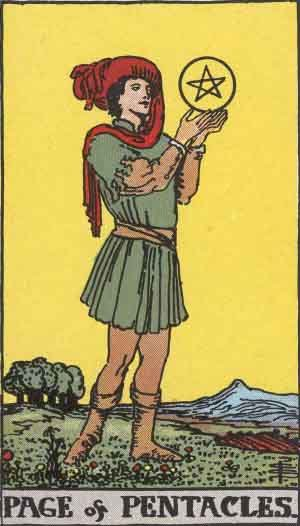 The Page Of Pentacles Tarot Card From The Rider-Waite Tarot Deck.