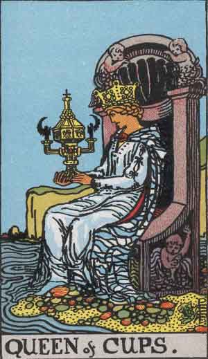 The Queen Of Cups Tarot Card From The Rider-Waite Tarot Deck.