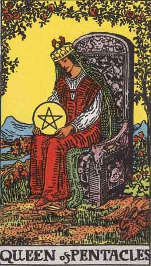 The Queen Of Pentacles Tarot Card From The Rider-Waite Tarot Deck.