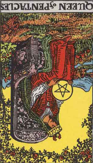 The Reversed Queen Of Pentacles Tarot Card From The Rider-Waite Tarot Deck.