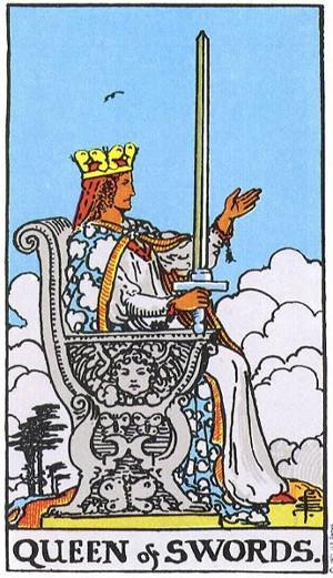 The Queen Of Swords Tarot Card From The Rider-Waite Tarot Deck.