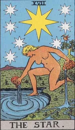The Star Tarot Card From The Rider-Waite Tarot Deck.
