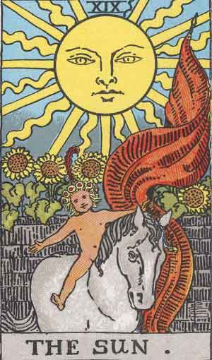 The Sun Tarot Card From The Rider-Waite Tarot Deck.