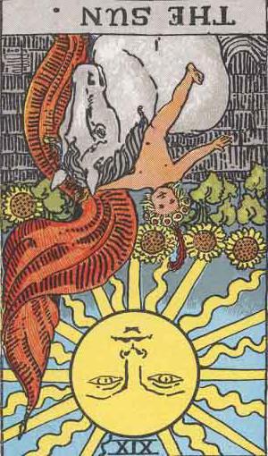 The Reversed Sun Tarot Card From The Rider-Waite Tarot Deck.