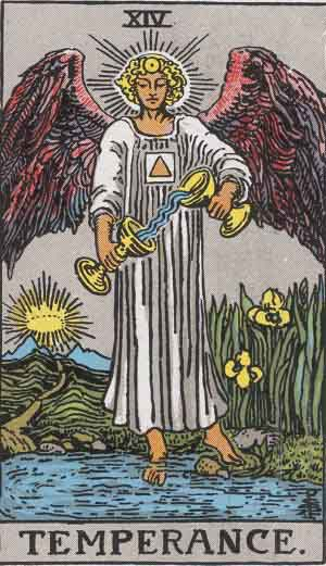 The Temperance Tarot Card From The Rider-Waite Tarot Deck.