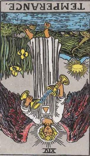 The Reversed Temperance Tarot Card From The Rider-Waite Tarot Deck.