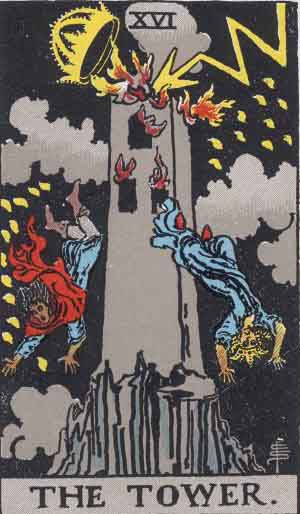 The Tower Tarot Card From The Rider-Waite Tarot Deck.
