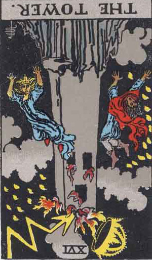 The Reversed Tower Tarot Card From The Rider-Waite Tarot Deck.
