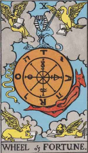 The Wheel Of Fortune Tarot Card From The Rider-Waite Tarot Deck.