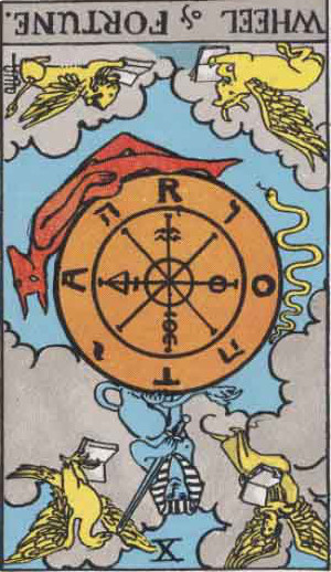 The Reversed Wheel Of Fortune Tarot Card From The Rider-Waite Tarot Deck.