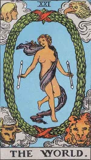 The World Tarot Card From The Rider-Waite Tarot Deck.