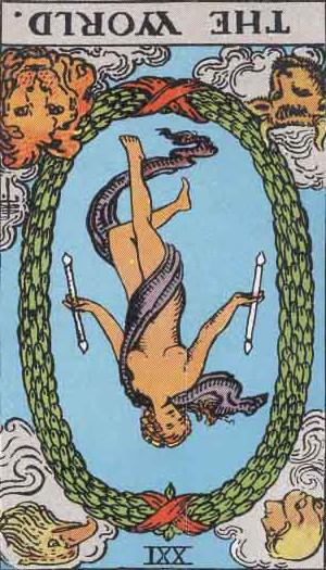 The Reversed World Tarot Card From The Rider-Waite Tarot Deck.