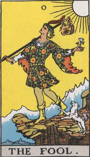 The Fool Tarot Card From The Rider Wait Tarot Deck.